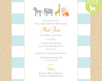 Zoo Friends Baby Shower Invitation in Aqua or Yellow - DIY digital file (PRINTABLE)