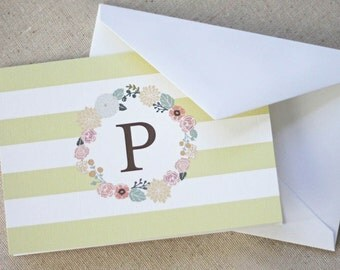 Monogrammed Floral Wreath Notecards in Citrine - Set of 10 fold-over cards