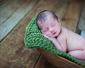 Green Chunky baby blanket crochet photo prop bucket bowl basket