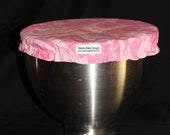 Custom Mixing Bowl Cover from Pink Kitchen Utensils Fabric