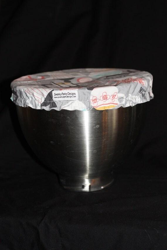 Custom Mixing Bowl Cover from Grey Mocha Fabric