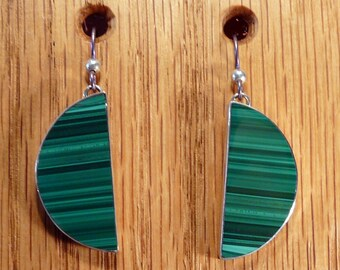 Sterling Silver and Malachite Earrings OOAK