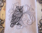 Baroque Owl - Fingertip Velour Bathroom Towel 11x18 - JD Designs