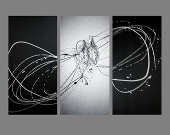 3 abstract canvas painting black and silver