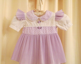CLEARANCE SALE 65% OFF Vintage Baby Girl White and Lilac Lavender Purple Checked Frilly Dress