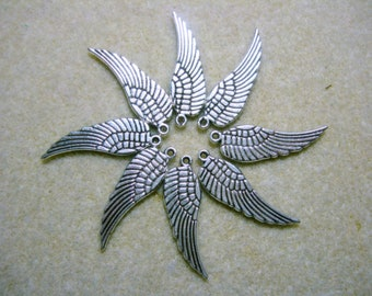 Silver plated Wings - Charms Drops Dangles Earring Findings - 8