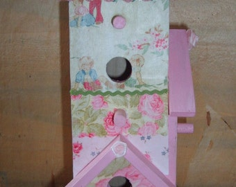 Chic Shabby Decorative Decoupaged Birdhouse