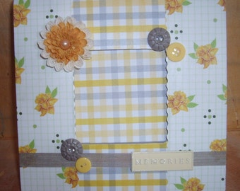 Yellow and Gray Memories Decoupaged Picture Frame