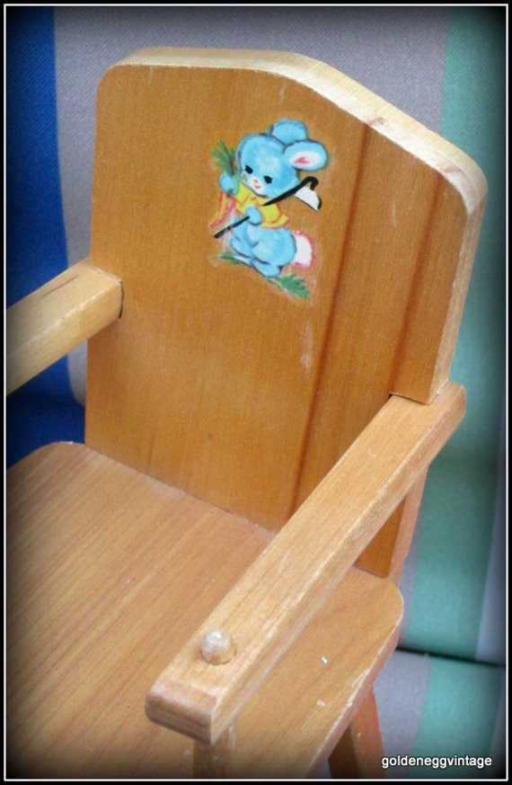 VIntage Wooden Toy Doll High Chair by Strombecker