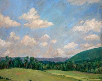 Hot and Hazy, Berkshires in July. Large Original Painting, Oil on Canvas, 22x24 Plein Air Impressionist Landscape, Signed Original Fine Art