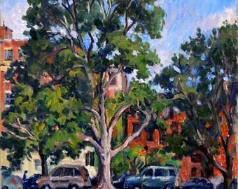 Albany Brownstones, Washington Park. 12x12 American Impressionist Oil on Canvas, New York Landscape Painting, Signed Original Fine Art
