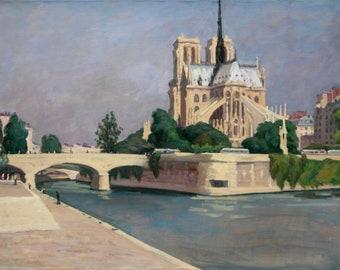 Notre Dame de Paris, 22x29 Oil on Canvas, Large Plein Air Impressionist Landscape, Signed Original Oil Painting