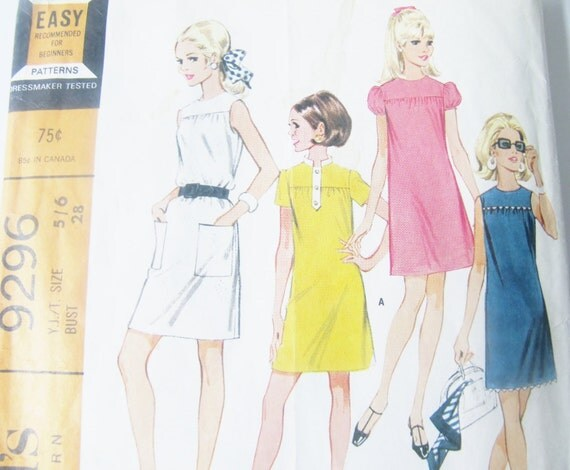 Vintage Sewing Pattern Young Junior Teen Mini Dress in Six Versions