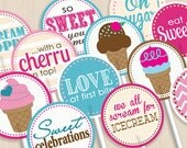 ICECREAM Party Circles & Cupcake Toppers- Instant Download