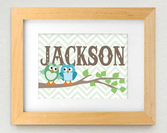 TWIN OWL Personalized Printable Nursery Art in Seafoam Green and Teal