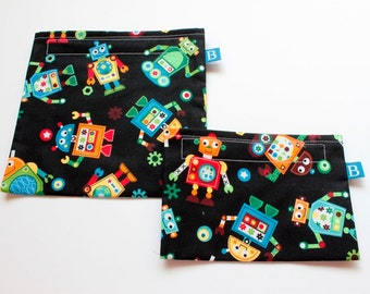 Reuseable Eco-Friendly Set of Snack and Sandwich Bags in Colorful Robots Fabric