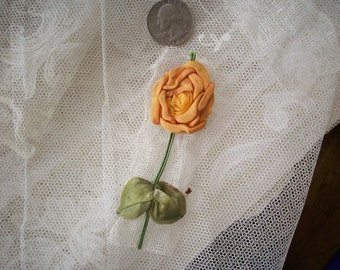 1 Antique ribbon work rose, authentic 1910s