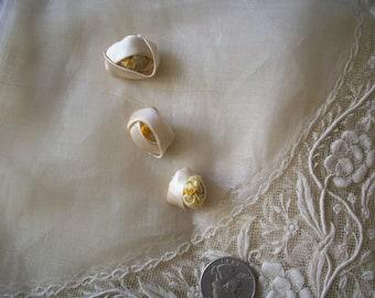 1 Antique Ribbon work vanilla silk rose buds , authentic 1910s
