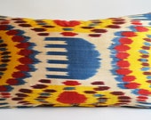 On Sale - Hand Woven Original Lumbar Silk ikat Pillow Cover -  Yellow, Beige, Red, Brown, Blue