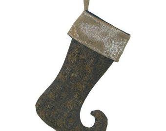 Christmas Stocking,  Navy and Gold Metallic