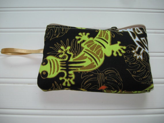 makeup jewelry bag in lizard print