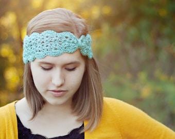 PDF Lacy scalloped crochet turban headband and ear warmer pattern