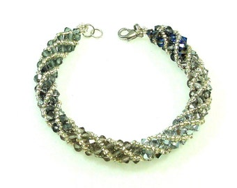 Swarovski Crystal Bracelet, Shades of Grey, Smoke, Spiral Bead Weaving