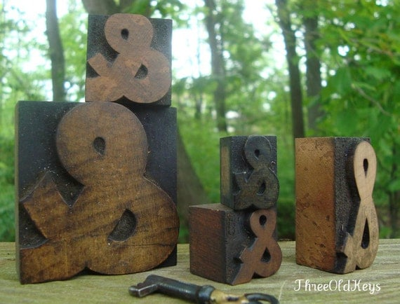 Letterpress Ampersand Collection 5 Old Print Blocks Wood AND Type Symbols