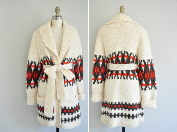 60s knit navajo sweater / vintage 1960s sweater / Into The Woods