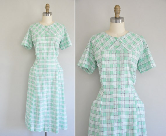 50s dress / vintage 1950s mint green cotton dress / At The Sea