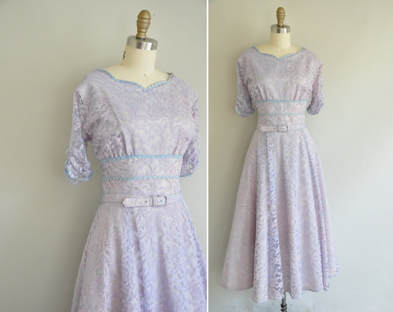 50s lace dress / vintage 1950s lavender lace cocktail dress