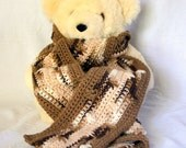 Crochet scarf brown white neckwarmer long wide leaf stitch thick neutral winter fashion handmade neckwear washable