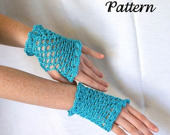 Women's fingerless gloves PDF PATTERN lacy hand warmers fancy delicate soft sparkly glossy lace ruffles shell stitch medium size