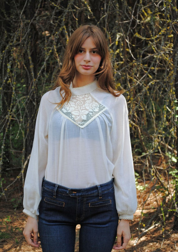 60's Embroidered Sheer Cotton Bohemian Blouse