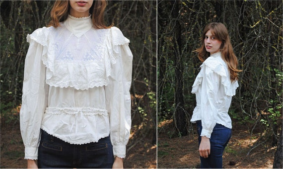 80's Victorian Cotton Ruffled Lace Blouse