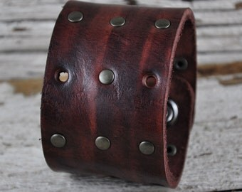 Rustic Brown Leather Cuff