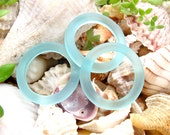 2pcs AQUA BLUE 23mm bottle ring donut sea beach glass bead frosted recycled - for pendant earrings