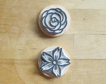 Rose and Cherry Blossom Set of Two Hand Carved Rubber Stamps