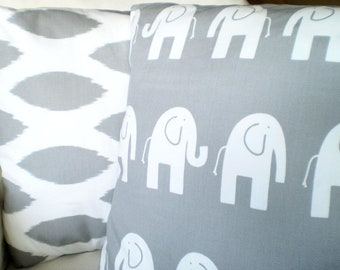 Nursery Pillow Covers, Decorative Throw Pillows, Cushions, Gray White Elephant Chipper Ikat, Childrens Pillows Baby  Combo Set Various Sizes