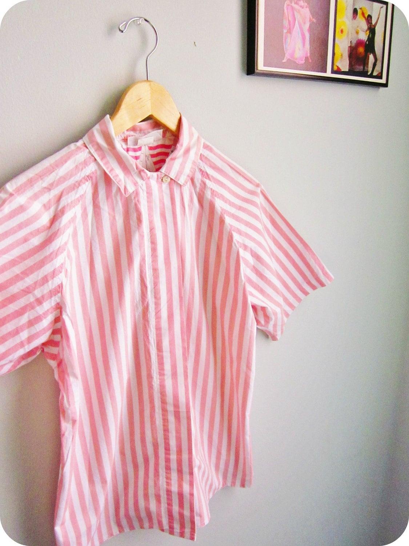 Surfer Stripe Shirt 60s Summer Beach Boy Button Up Mens Size S