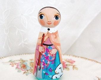 Saint Germaine of Pibrac Doll - Catholic Saint Doll - Wooden Peg Doll Toy - Made to Order