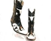 Vintage Cowboy Boots Men's Rancho Loco Leather Inlay Steer Western Boots Mn US Size 9