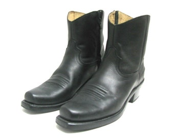 Mens Durango Ankle High Cowboy Boots Vintage Pre-owned Black Leather Shorty Western Boot  Mns size 7D Will Fit a Womens US Size 8