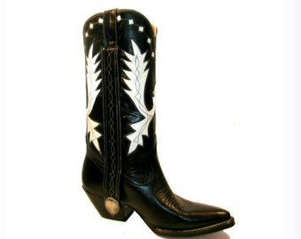 Vintage Cowboy Boots Black and White Leather Inlay Western Boots Mens US size 9