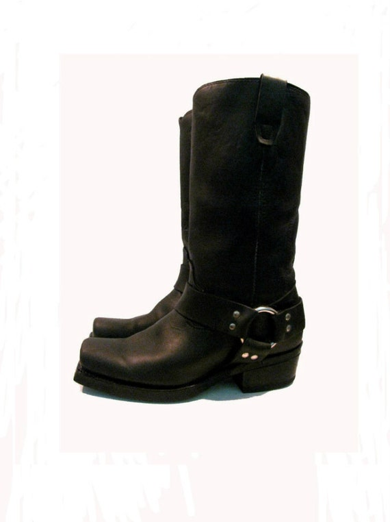 Vintage Woman's Black Leather Harness Motorcycle Biker Boots Woman's US size 8