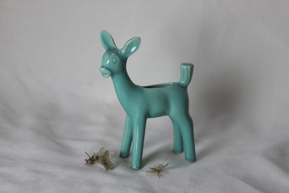 Vintage Teal Fawn Deer Planter Vase USA Smooth and Shiny but Quite Shy