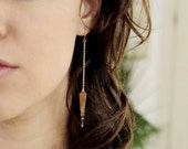 Rose Gold Earrings. Hammered Spikes. Simple. Triangle. Dangle Earrings. Gold filled.