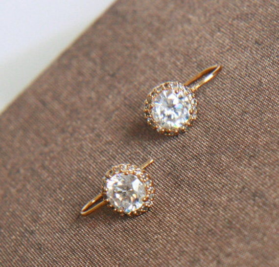 Gold Earrings, Gold Framed Cubic Zirconia Earrings- Simple Earrings, Simple, Dainty Jewelry