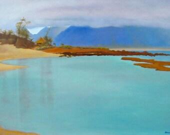 Maui Art Gratitude - Baby Beach, Maui. Limited edition seascape cobalt blue and cobalt teal contrasts with warm sand