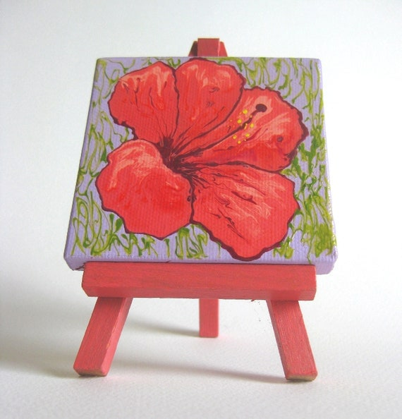 Tiny marbled painting coral hibiscus flower on lavender ground OOAK